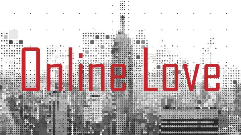 Logo des Online Love Musicals vor einer verpixelten Skyline